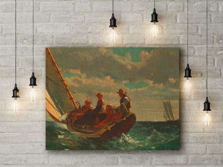 Winslow Homer: Breezing Up. Fine Art Canvas.